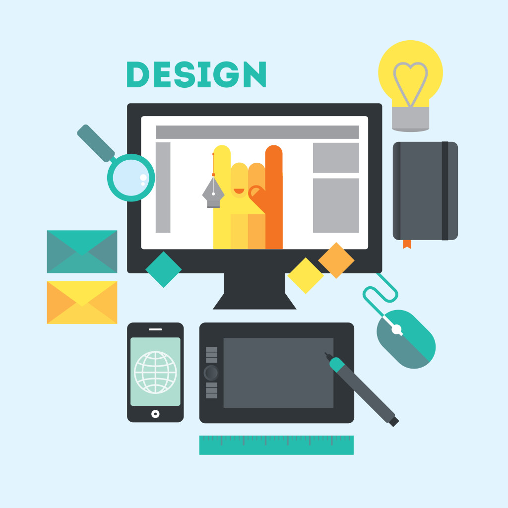 Designer's workspace and stuff. Modern workplace of web designer in creative process or process of development. Modern vector illustration in flat style.