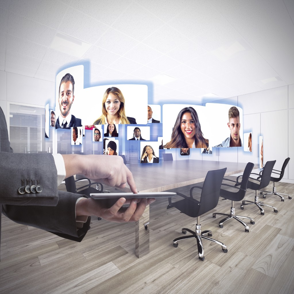 Business team talks about working in videoconference in b2b communications